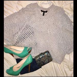 BCBG MaxAzria Pearl Grey Crochet Top